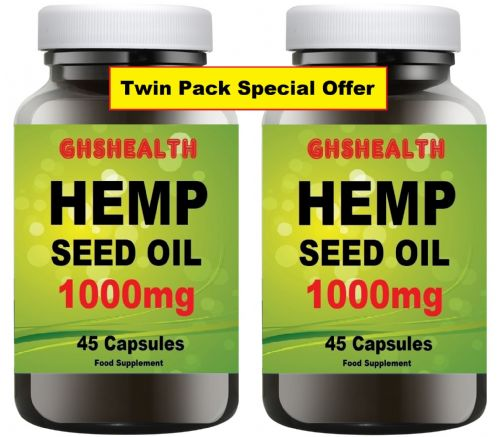 Hemp seed oil capsules 1000mg 45 x 2 = 90 Capsules Special Offer
